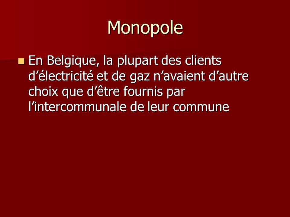 Monopole En Belgique, la plupart des clients délectricité et de gaz navaient dautre choix que dêtre fournis par lintercommunale de leur commune En Belgique, la plupart des clients délectricité et de gaz navaient dautre choix que dêtre fournis par lintercommunale de leur commune