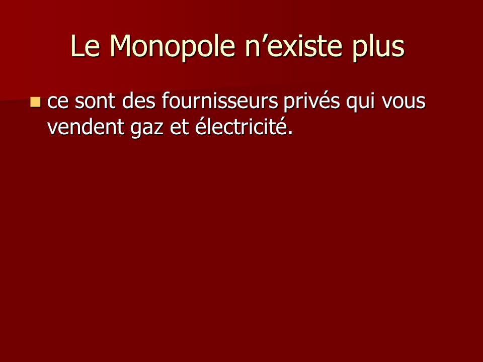 Le Monopole nexiste plus Le Monopole nexiste plus ce sont des fournisseurs privés qui vous vendent gaz et électricité. ce sont des fournisseurs privés