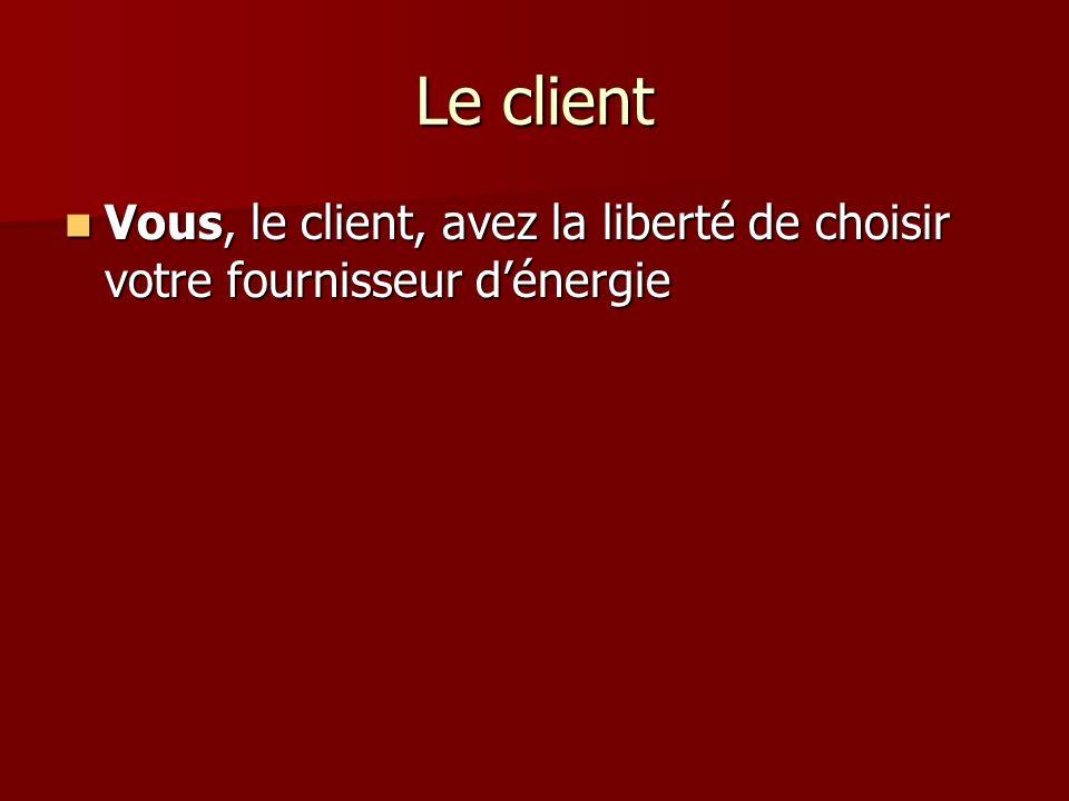 Le client Vous, le client, avez la liberté de choisir votre fournisseur dénergie Vous, le client, avez la liberté de choisir votre fournisseur dénergi
