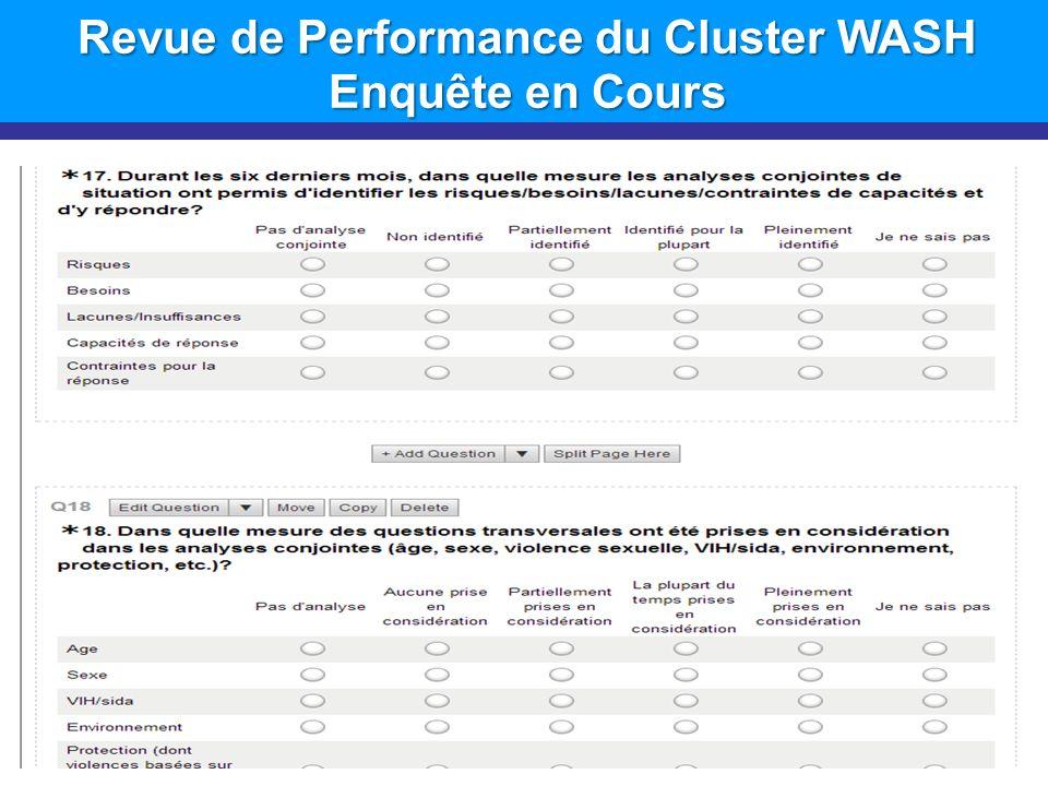 Revue de Performance du Cluster WASH Enquête en Cours 11