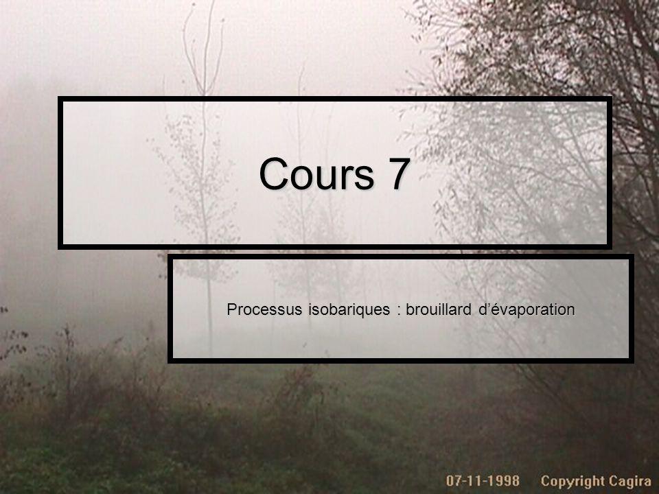 Cours 7 Processus isobariques : brouillard dévaporation