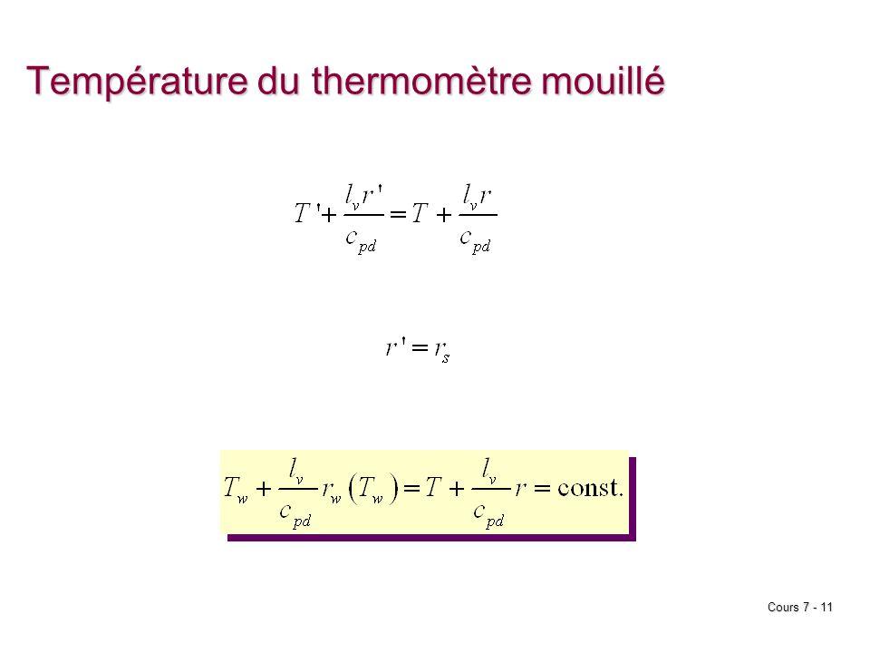 Cours 7 - 11 Température du thermomètre mouillé