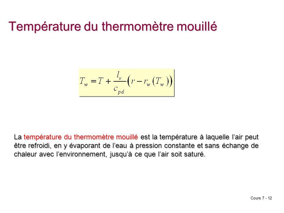 Cours 7 - 12 Température du thermomètre mouillé La température du thermomètre mouillé est la température à laquelle lair peut être refroidi, en y évap