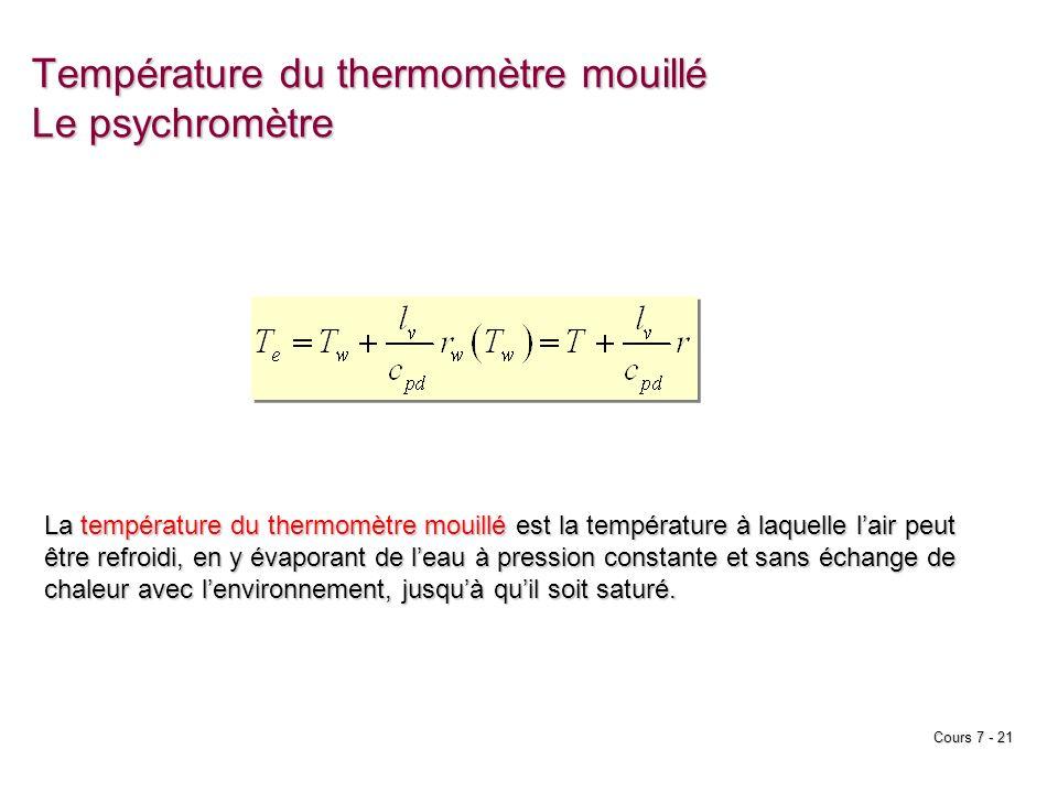Cours 7 - 21 Température du thermomètre mouillé Le psychromètre La température du thermomètre mouillé est la température à laquelle lair peut être ref