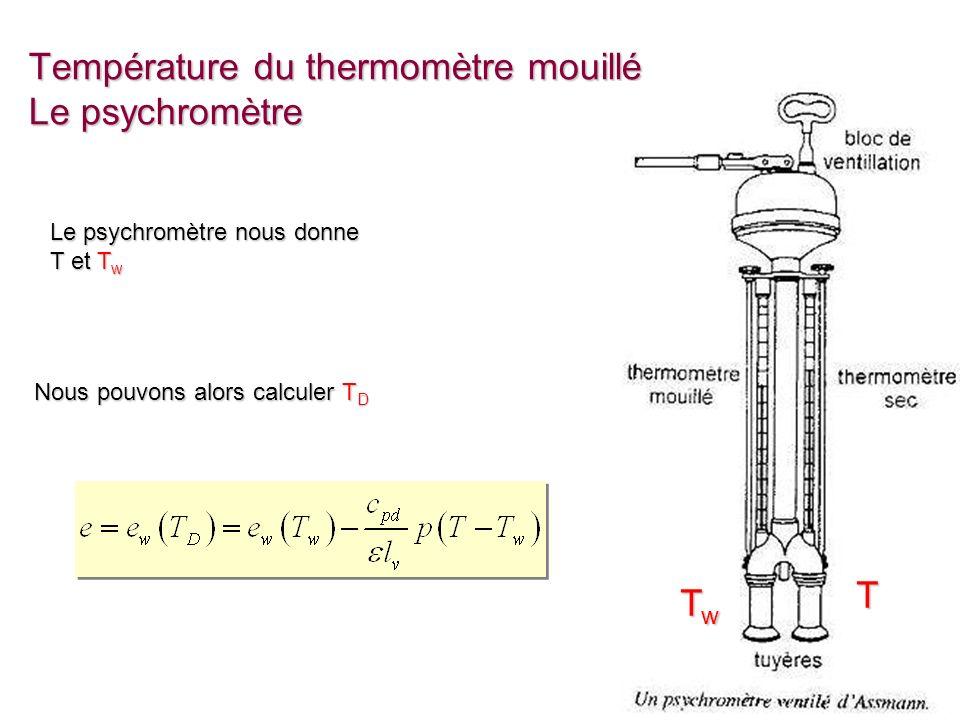 Cours 7 - 22 Température du thermomètre mouillé Le psychromètre Le psychromètre nous donne T et T w TwTwTwTw T Nous pouvons alors calculer T D