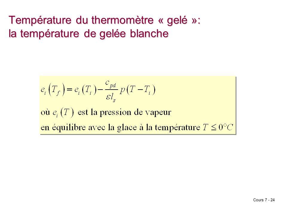 Cours 7 - 24 Température du thermomètre « gelé »: la température de gelée blanche
