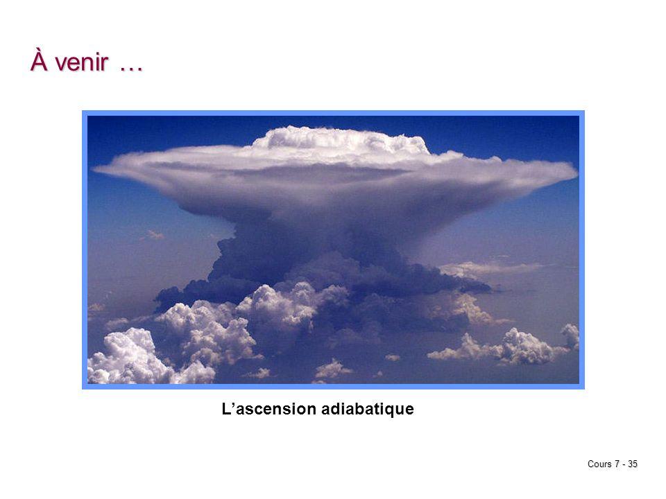 Cours 7 - 35 À venir … Lascension adiabatique