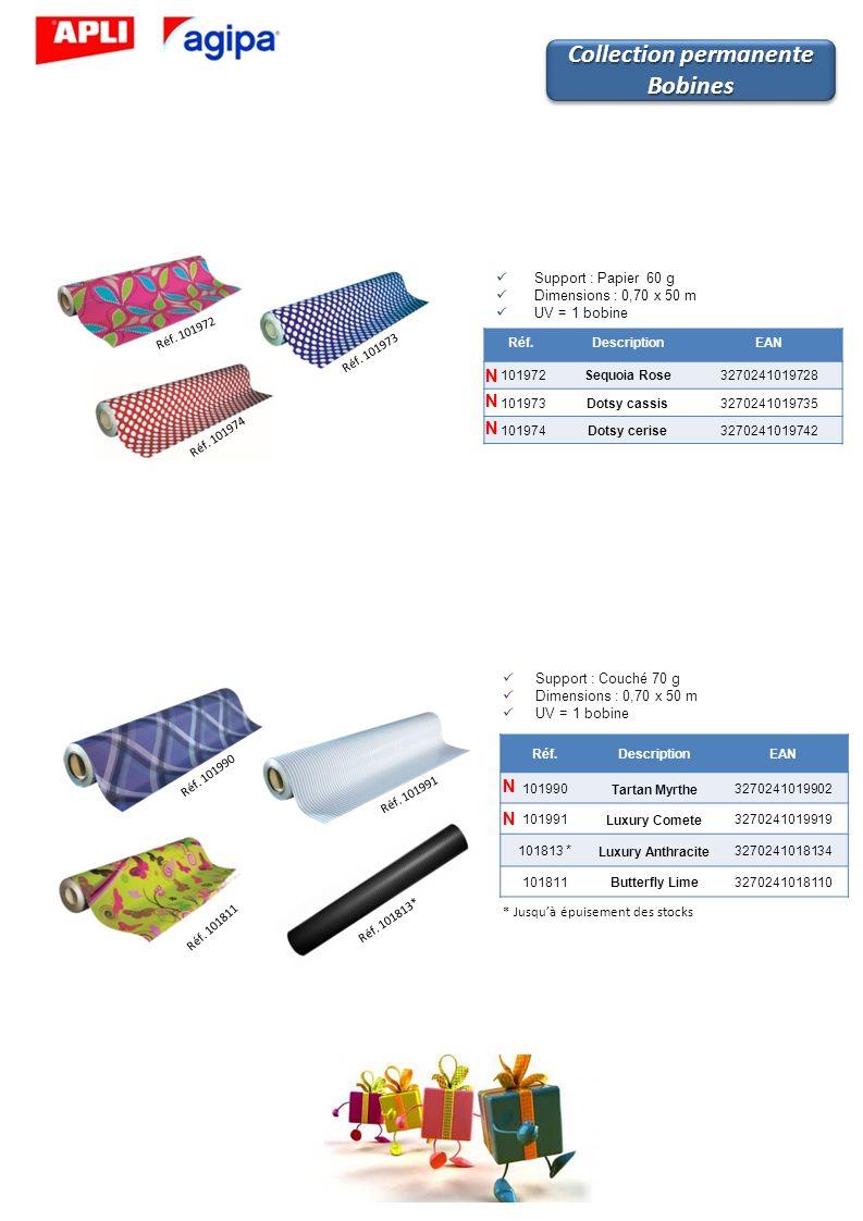 Réf.DescriptionEAN 101972Sequoia Rose3270241019728 101973Dotsy cassis3270241019735 101974Dotsy cerise3270241019742 Support : Papier 60 g Dimensions :