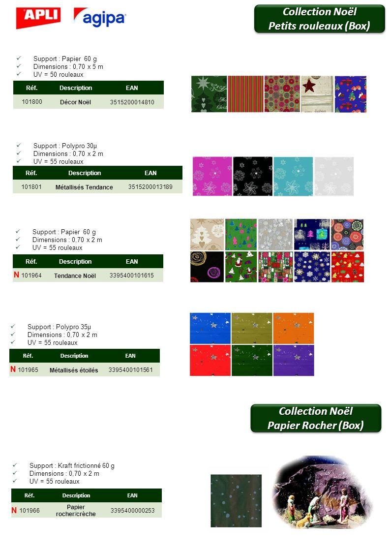 Support : Papier 60 g Dimensions : 0,70 x 5 m UV = 50 rouleaux Support : Polypro 30µ Dimensions : 0,70 x 2 m UV = 55 rouleaux Support : Papier 60 g Di