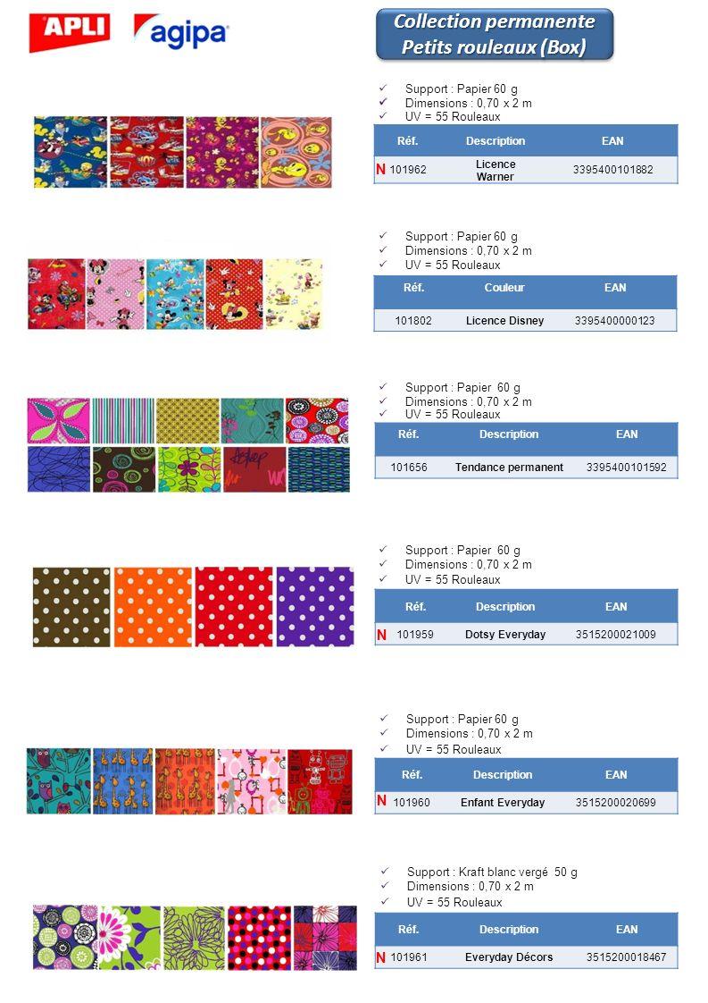 Réf.CouleurEAN 101802Licence Disney3395400000123 Réf.DescriptionEAN 101962 Licence Warner 3395400101882 Support : Papier 60 g Dimensions : 0,70 x 2 m