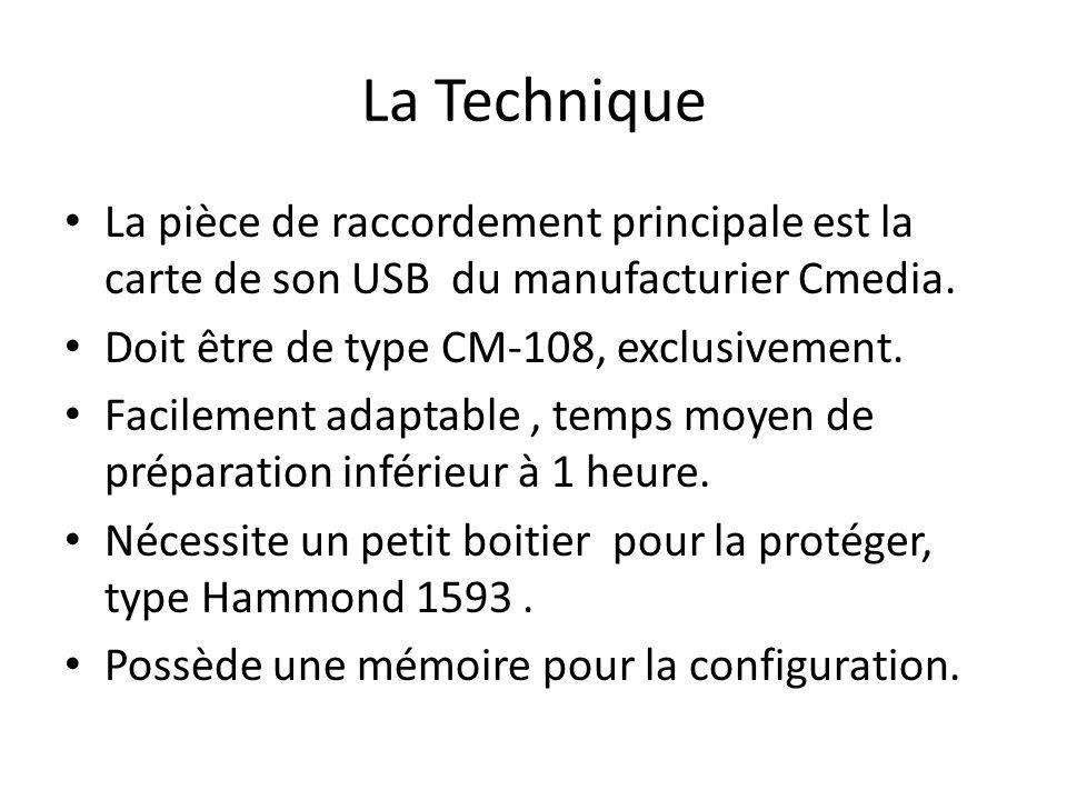 La Technique La pièce de raccordement principale est la carte de son USB du manufacturier Cmedia. Doit être de type CM-108, exclusivement. Facilement