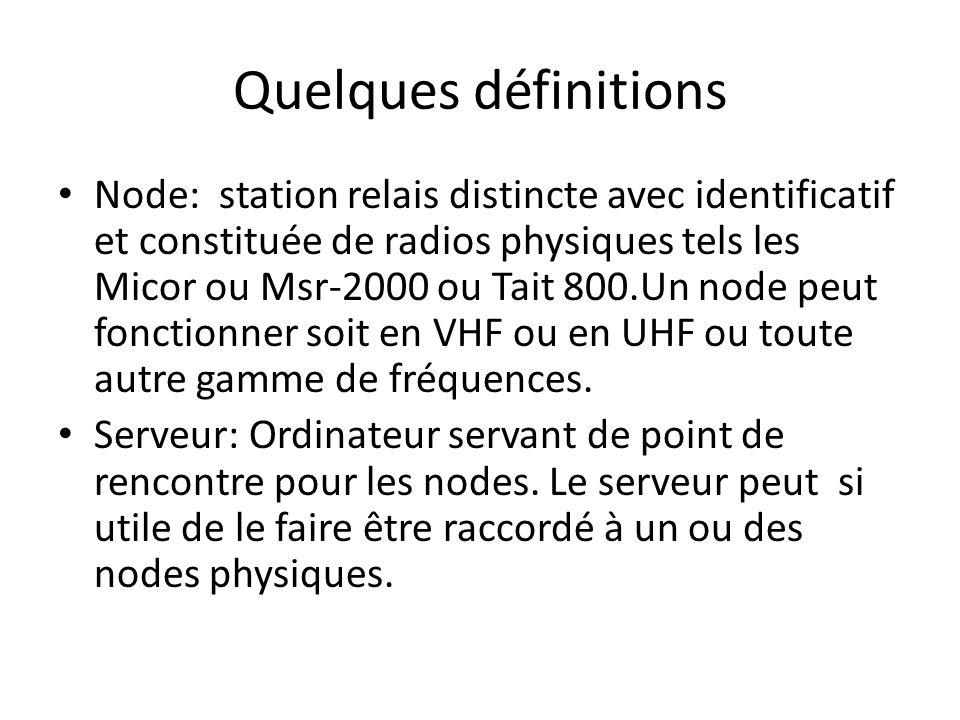 Quelques définitions Node: station relais distincte avec identificatif et constituée de radios physiques tels les Micor ou Msr-2000 ou Tait 800.Un nod