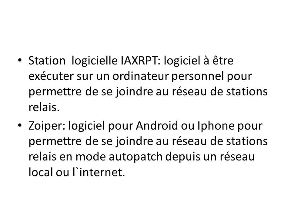 Station logicielle IAXRPT: logiciel à être exécuter sur un ordinateur personnel pour permettre de se joindre au réseau de stations relais. Zoiper: log
