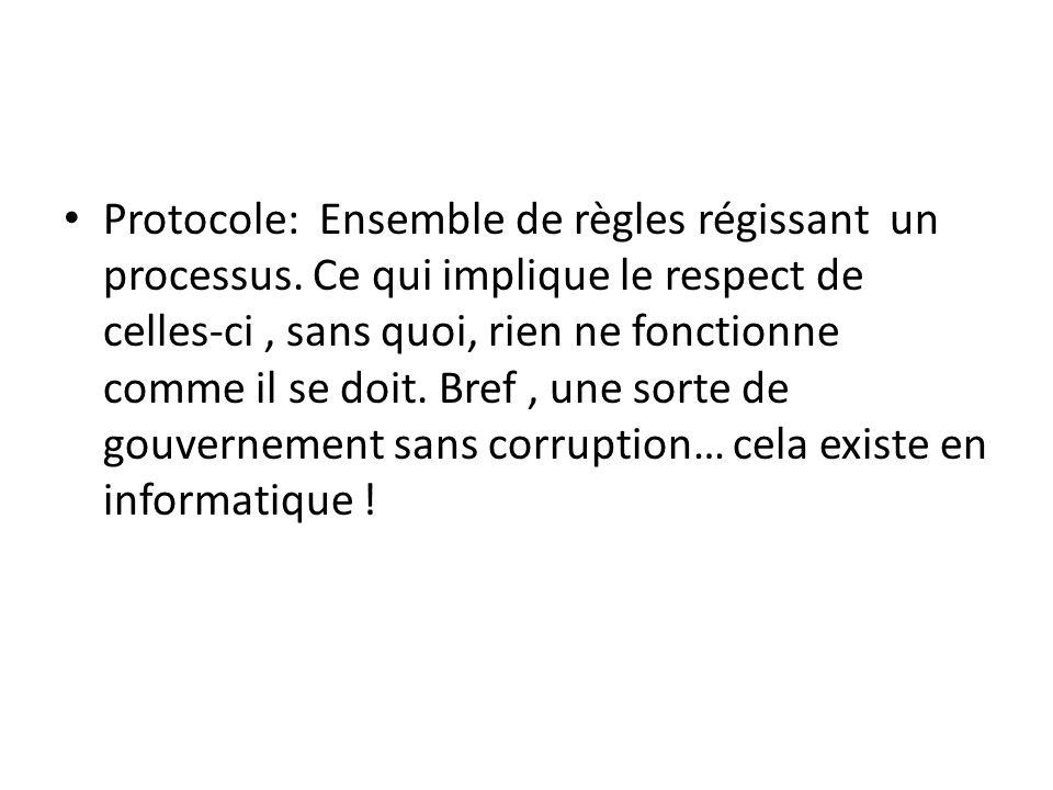 Protocole: Ensemble de règles régissant un processus. Ce qui implique le respect de celles-ci, sans quoi, rien ne fonctionne comme il se doit. Bref, u