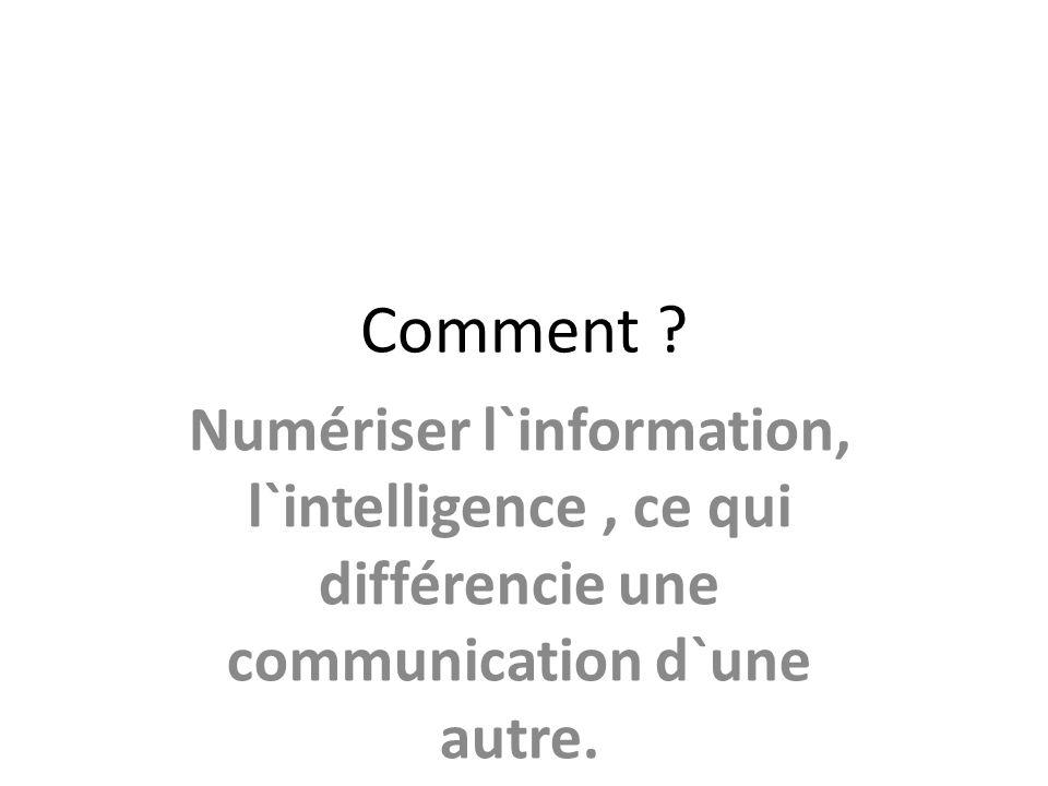 Comment ? Numériser l`information, l`intelligence, ce qui différencie une communication d`une autre.