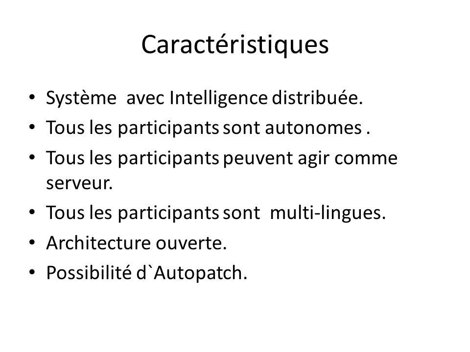 Caractéristiques Système avec Intelligence distribuée. Tous les participants sont autonomes. Tous les participants peuvent agir comme serveur. Tous le