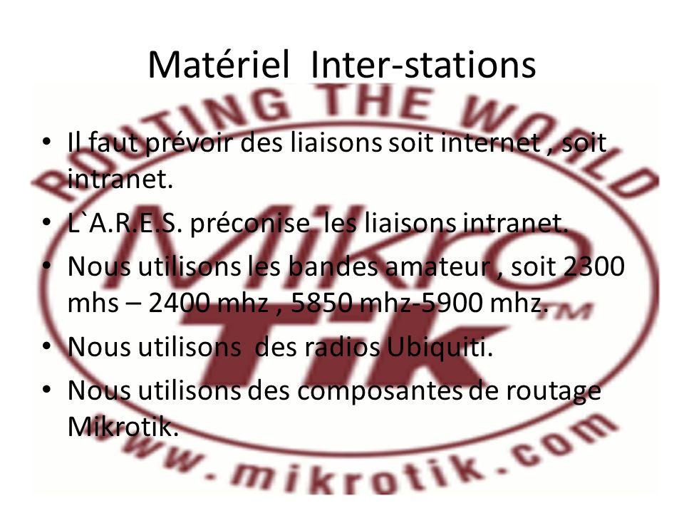 Matériel Inter-stations Il faut prévoir des liaisons soit internet, soit intranet. L`A.R.E.S. préconise les liaisons intranet. Nous utilisons les band