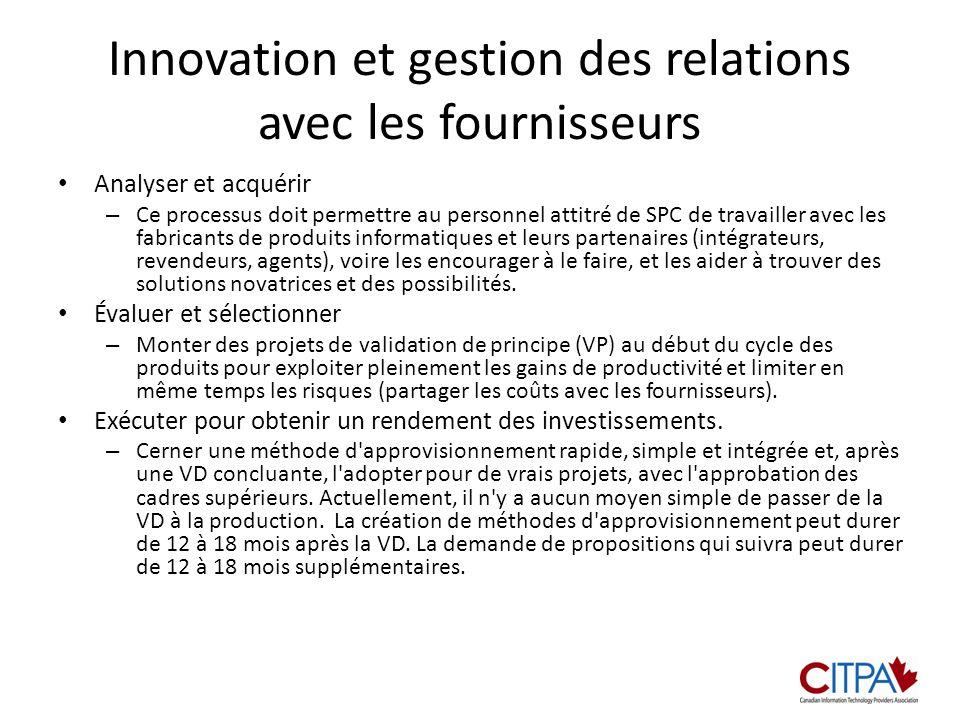 Innovation et gestion des relations avec les fournisseurs Analyser et acquérir – Ce processus doit permettre au personnel attitré de SPC de travailler