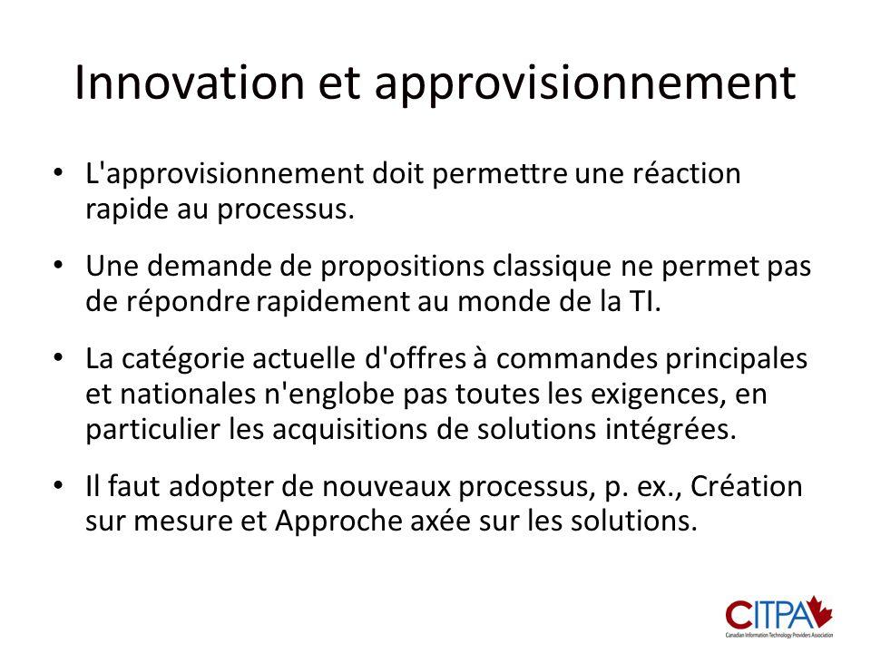 Innovation et approvisionnement L'approvisionnement doit permettre une réaction rapide au processus. Une demande de propositions classique ne permet p