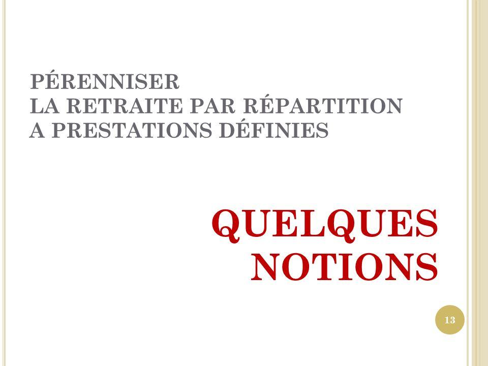 PÉRENNISER LA RETRAITE PAR RÉPARTITION A PRESTATIONS DÉFINIES QUELQUES NOTIONS 13