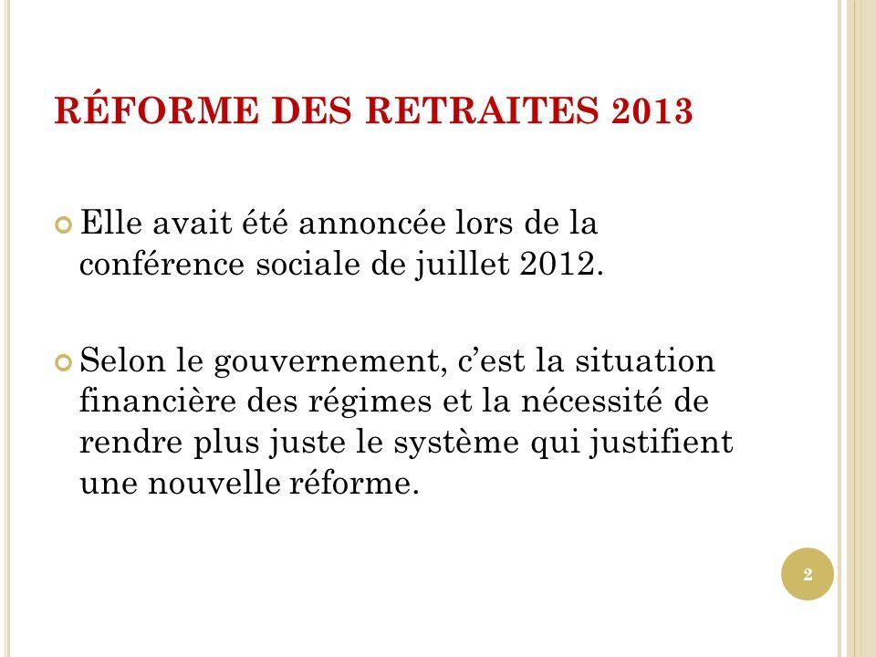 RÉFORME DES RETRAITES 2013 Les scénarios qui sont présentés dans le rapport Moreau portent notamment sur : Un nouvel allongement de la durée de cotisation.