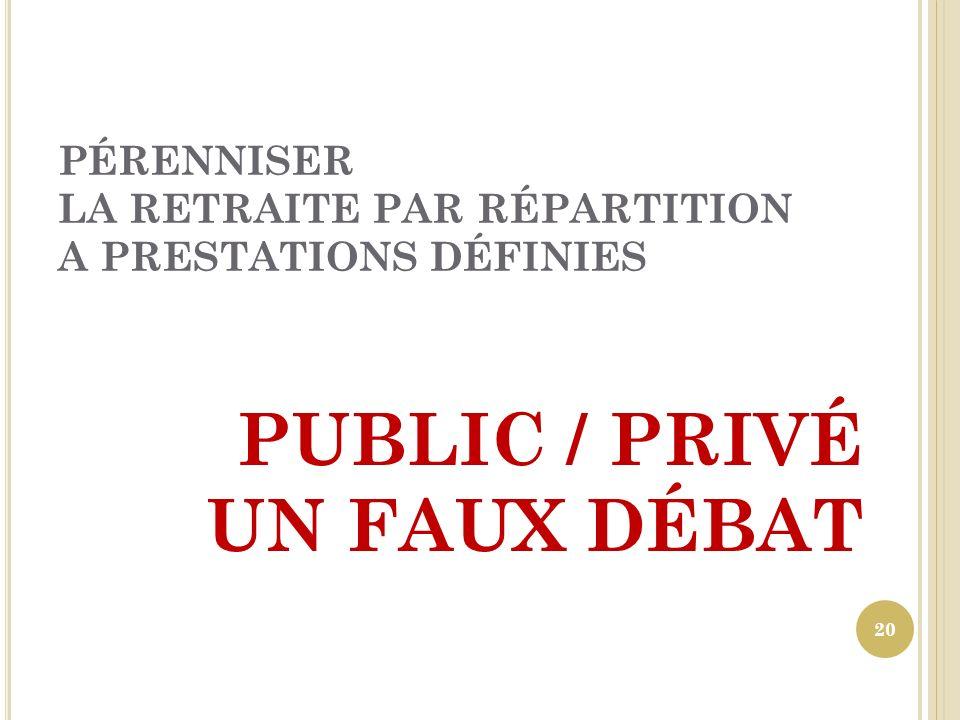 PÉRENNISER LA RETRAITE PAR RÉPARTITION A PRESTATIONS DÉFINIES PUBLIC / PRIVÉ UN FAUX DÉBAT 20