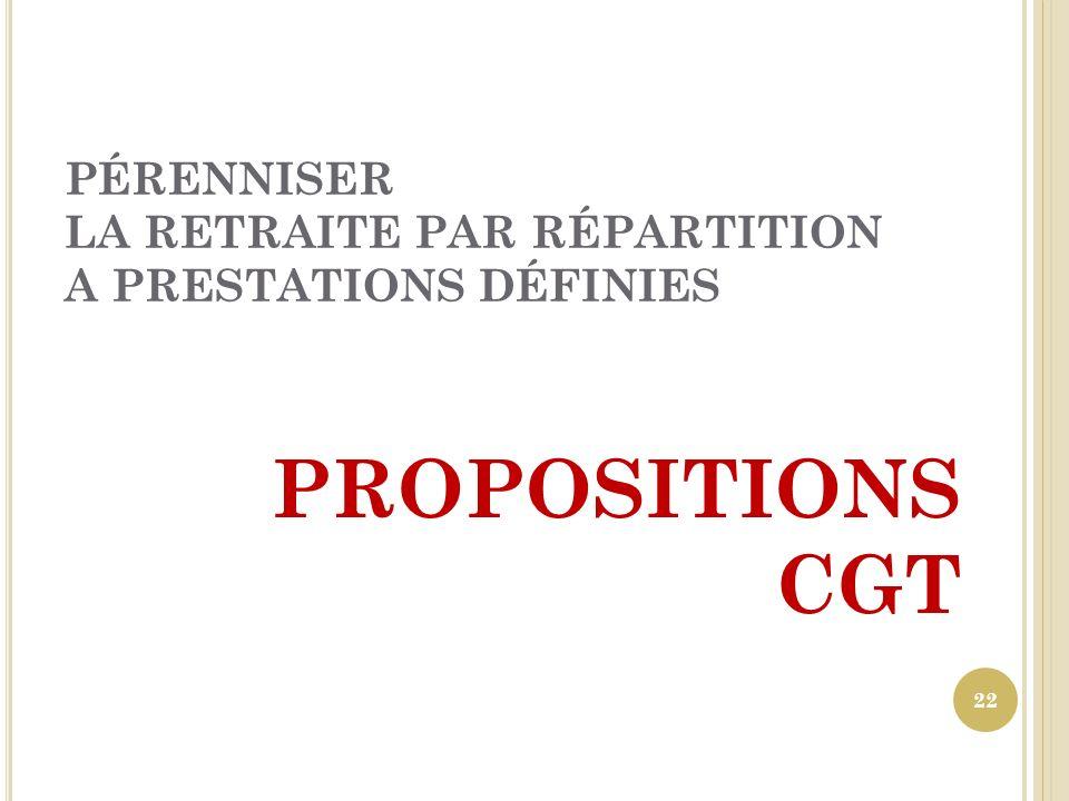 PÉRENNISER LA RETRAITE PAR RÉPARTITION A PRESTATIONS DÉFINIES PROPOSITIONS CGT 22