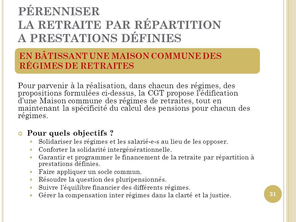 PÉRENNISER LA RETRAITE PAR RÉPARTITION A PRESTATIONS DÉFINIES Pour parvenir à la réalisation, dans chacun des régimes, des propositions formulées ci-d