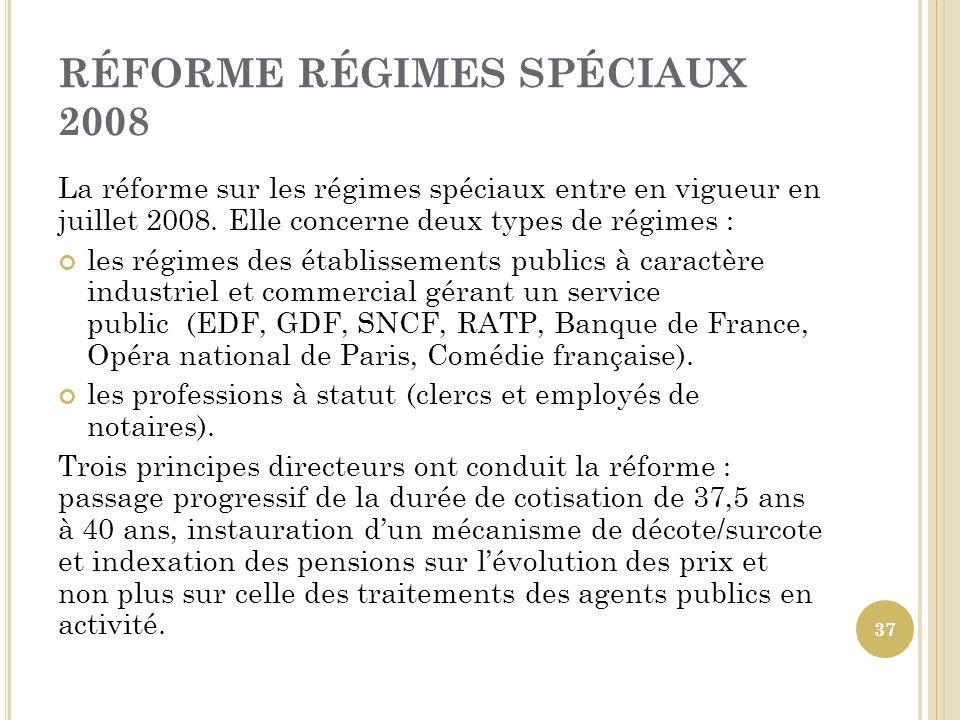 RÉFORME RÉGIMES SPÉCIAUX 2008 La réforme sur les régimes spéciaux entre en vigueur en juillet 2008. Elle concerne deux types de régimes : les régimes