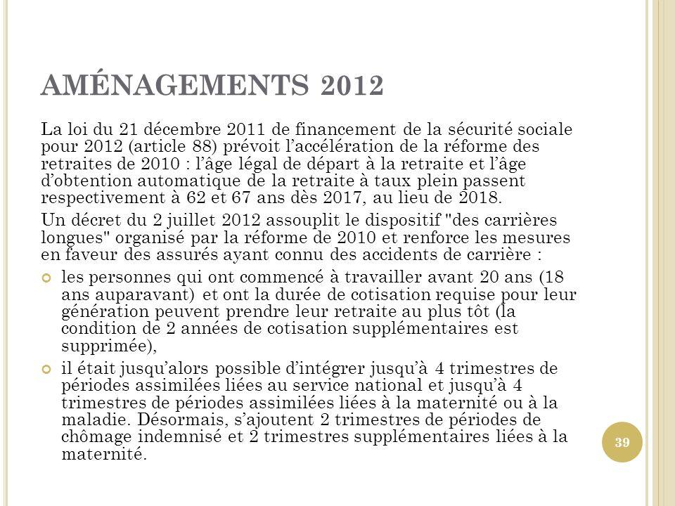 AMÉNAGEMENTS 2012 La loi du 21 décembre 2011 de financement de la sécurité sociale pour 2012 (article 88) prévoit laccélération de la réforme des retr