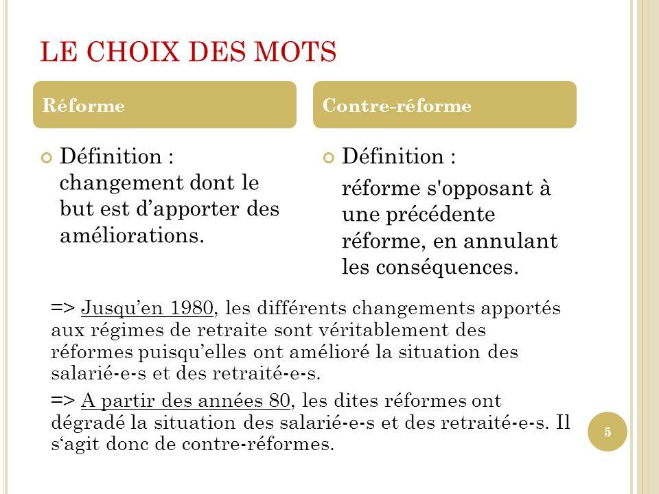 LE CHOIX DES MOTS 5 Définition : changement dont le but est dapporter des améliorations. Définition : réforme s'opposant à une précédente réforme, en