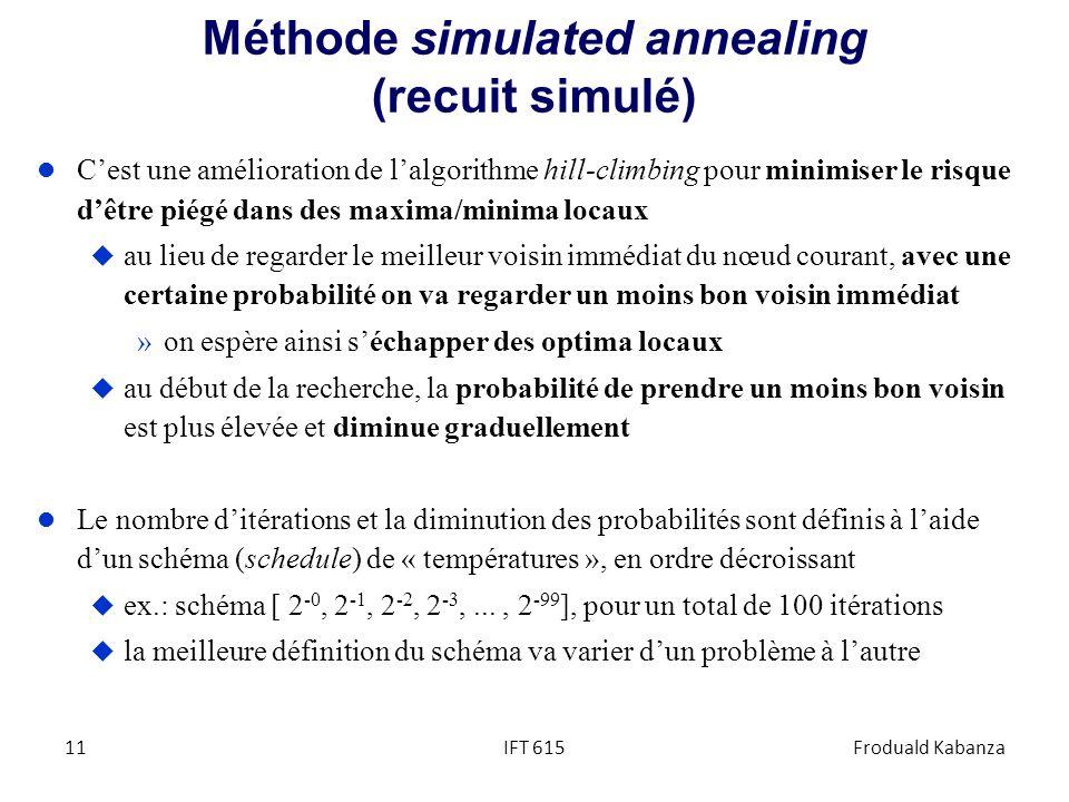Méthode simulated annealing (recuit simulé) l Cest une amélioration de lalgorithme hill-climbing pour minimiser le risque dêtre piégé dans des maxima/