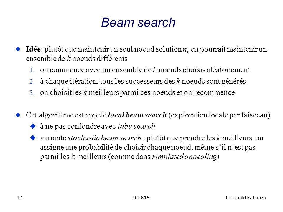 IFT 615Froduald Kabanza14 Beam search l Idée: plutôt que maintenir un seul noeud solution n, en pourrait maintenir un ensemble de k noeuds différents