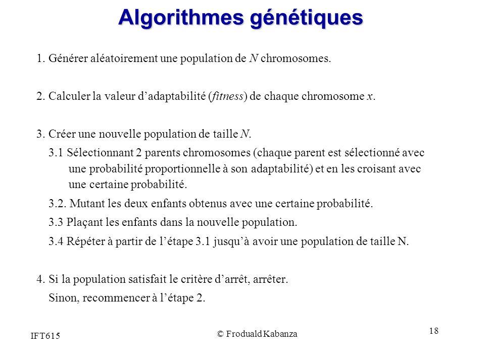 IFT615 © Froduald Kabanza 18 Algorithmes génétiques 1. Générer aléatoirement une population de N chromosomes. 2. Calculer la valeur dadaptabilité (fit