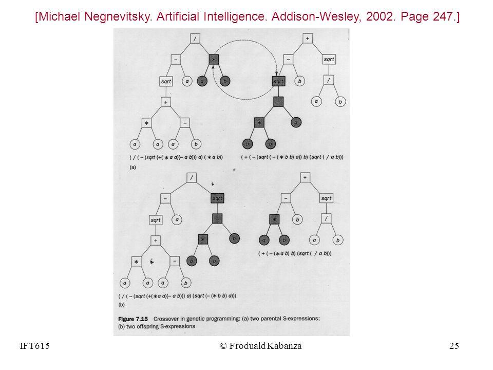 IFT615© Froduald Kabanza25 [Michael Negnevitsky. Artificial Intelligence. Addison-Wesley, 2002. Page 247.]
