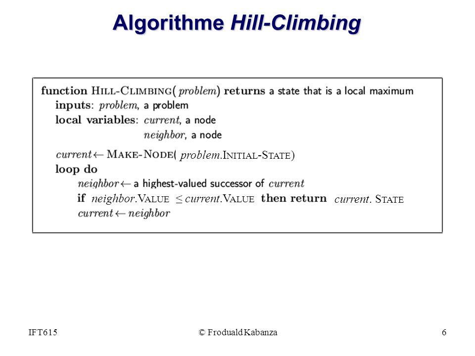 © Froduald Kabanza6IFT615 Algorithme Hill-Climbing problem.I NITIAL -S TATE ) neighbor.V ALUE current.V ALUE current.