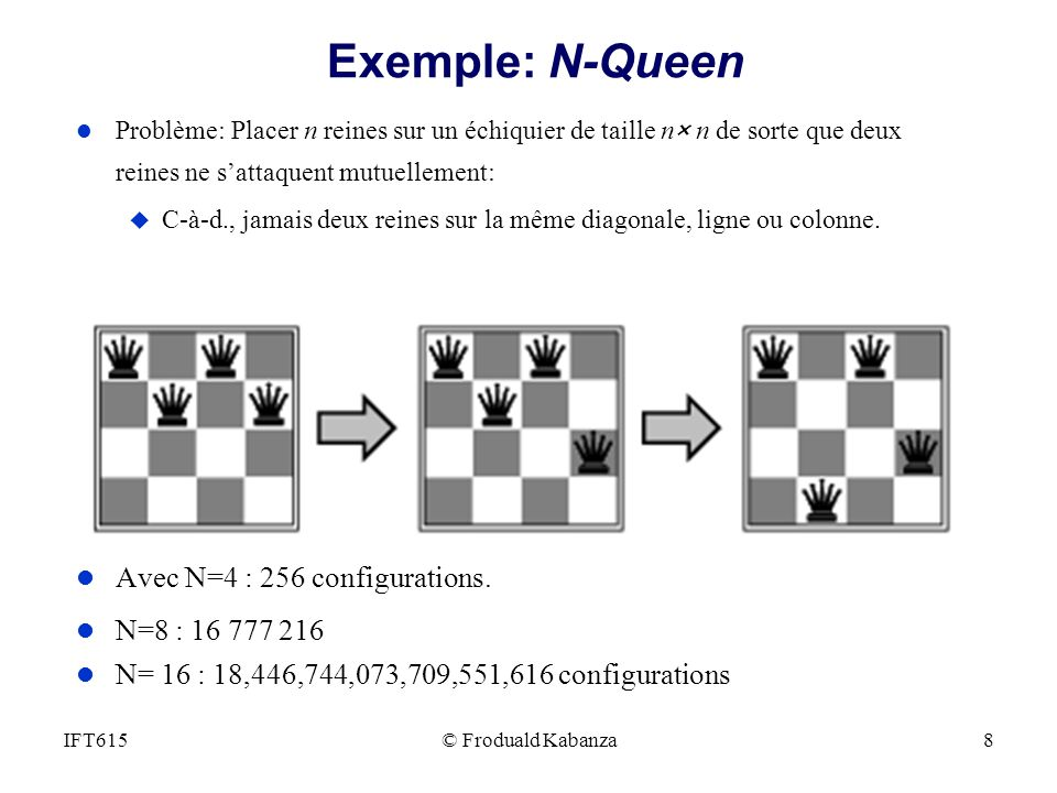 © Froduald Kabanza8IFT615 Exemple: N-Queen l Problème: Placer n reines sur un échiquier de taille n× n de sorte que deux reines ne sattaquent mutuelle