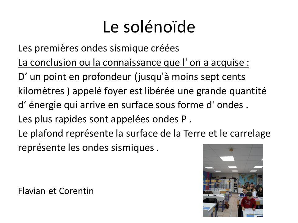 Le solénoïde Les premières ondes sismique créées La conclusion ou la connaissance que l' on a acquise : D un point en profondeur (jusqu'à moins sept c