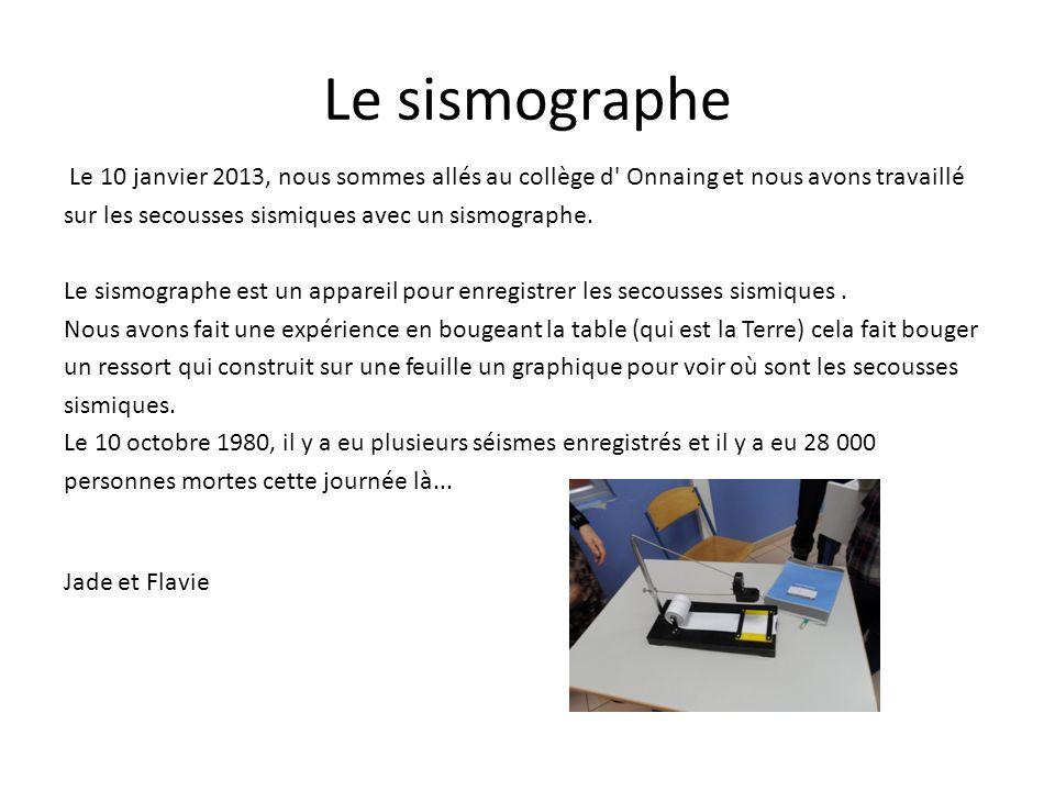 Le sismographe Le 10 janvier 2013, nous sommes allés au collège d' Onnaing et nous avons travaillé sur les secousses sismiques avec un sismographe. Le