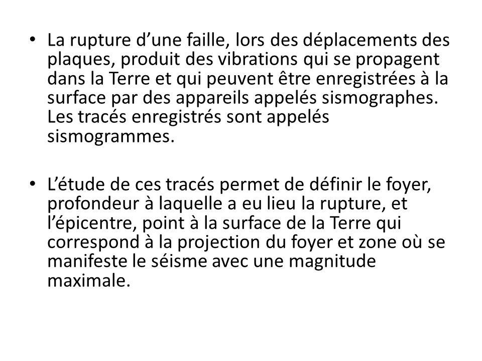 La rupture dune faille, lors des déplacements des plaques, produit des vibrations qui se propagent dans la Terre et qui peuvent être enregistrées à la