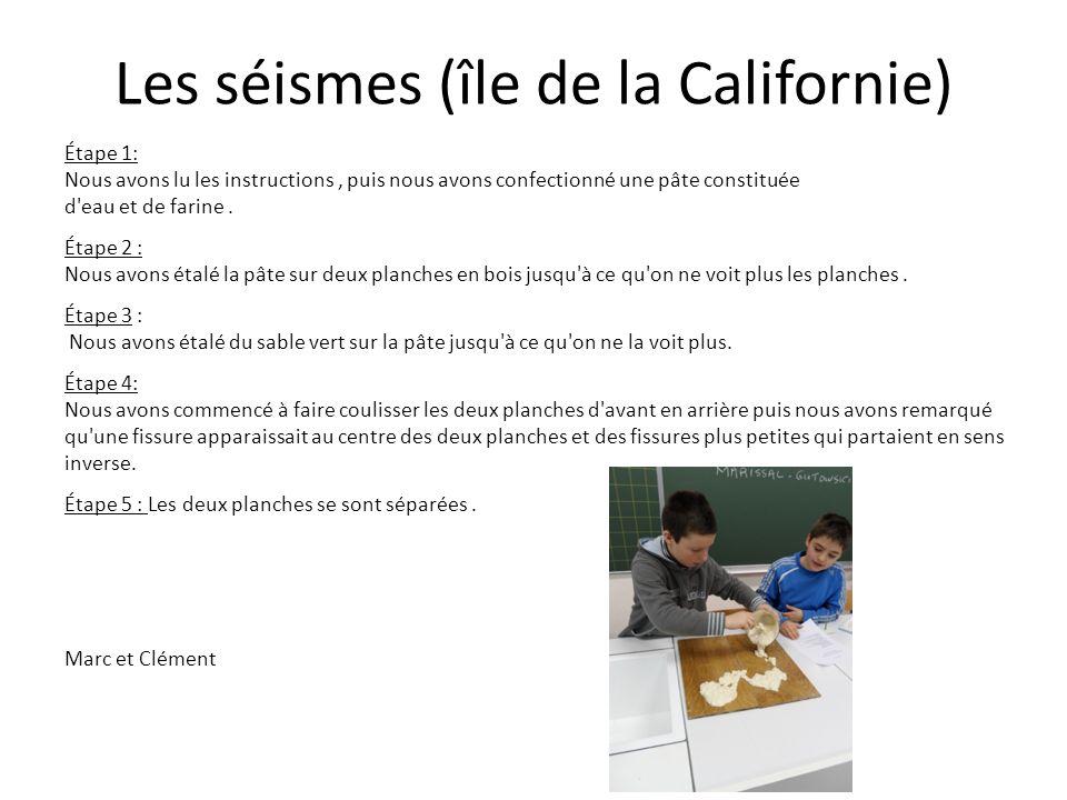 Les séismes (île de la Californie) Étape 1: Nous avons lu les instructions, puis nous avons confectionné une pâte constituée d'eau et de farine. Étape