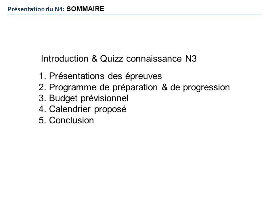 Présentation du N4: SOMMAIRE 1.Présentations des épreuves 2.Programme de préparation & de progression 3.Budget prévisionnel 4.Calendrier proposé 5.Con