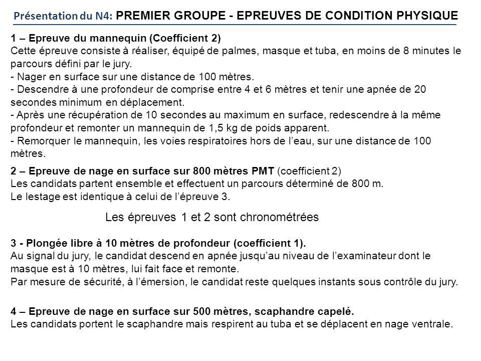 Présentation du N4: PREMIER GROUPE - EPREUVES DE CONDITION PHYSIQUE 1 – Epreuve du mannequin (Coefficient 2) Cette épreuve consiste à réaliser, équipé