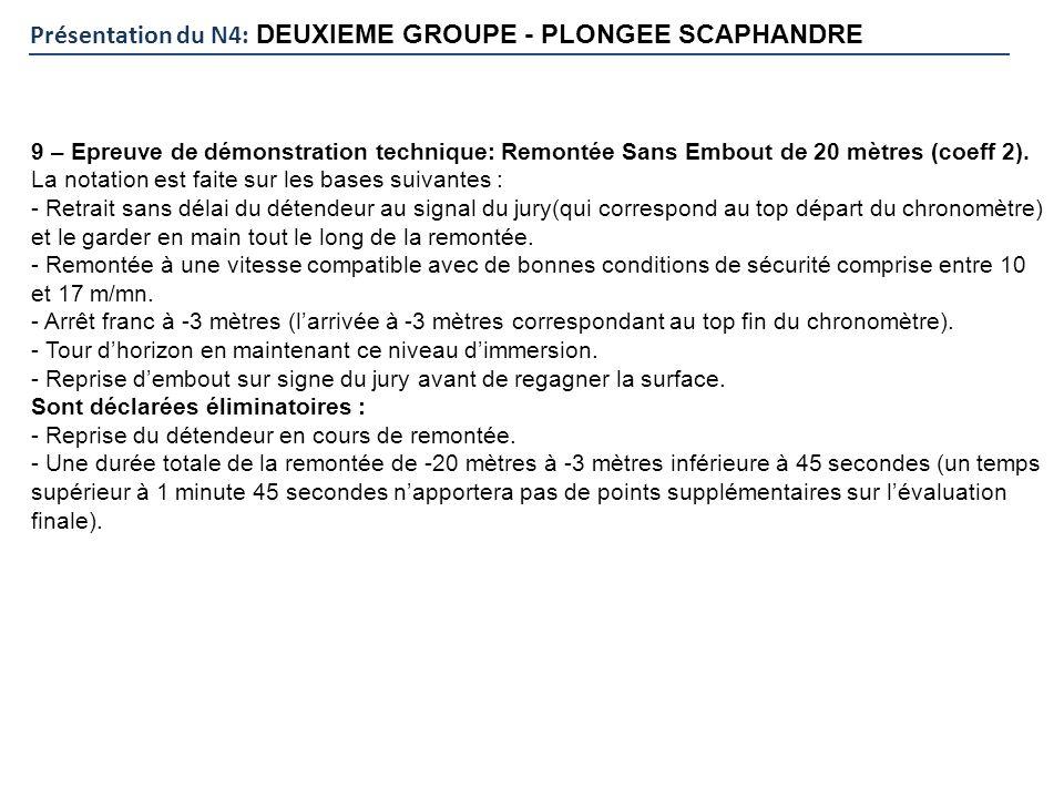 Présentation du N4: DEUXIEME GROUPE - PLONGEE SCAPHANDRE 9 – Epreuve de démonstration technique: Remontée Sans Embout de 20 mètres (coeff 2). La notat