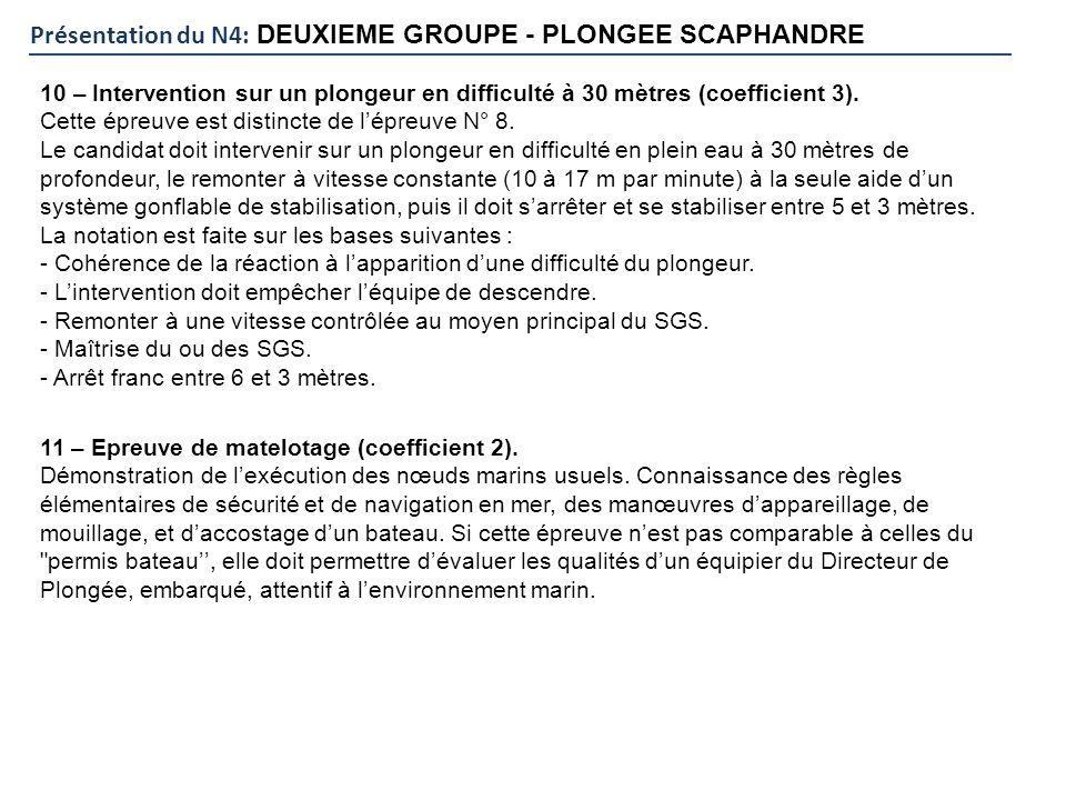 Présentation du N4: DEUXIEME GROUPE - PLONGEE SCAPHANDRE 10 – Intervention sur un plongeur en difficulté à 30 mètres (coefficient 3). Cette épreuve es