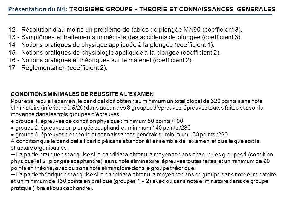 Présentation du N4: TROISIEME GROUPE - THEORIE ET CONNAISSANCES GENERALES 12 - Résolution d'au moins un problème de tables de plongée MN90 (coefficien