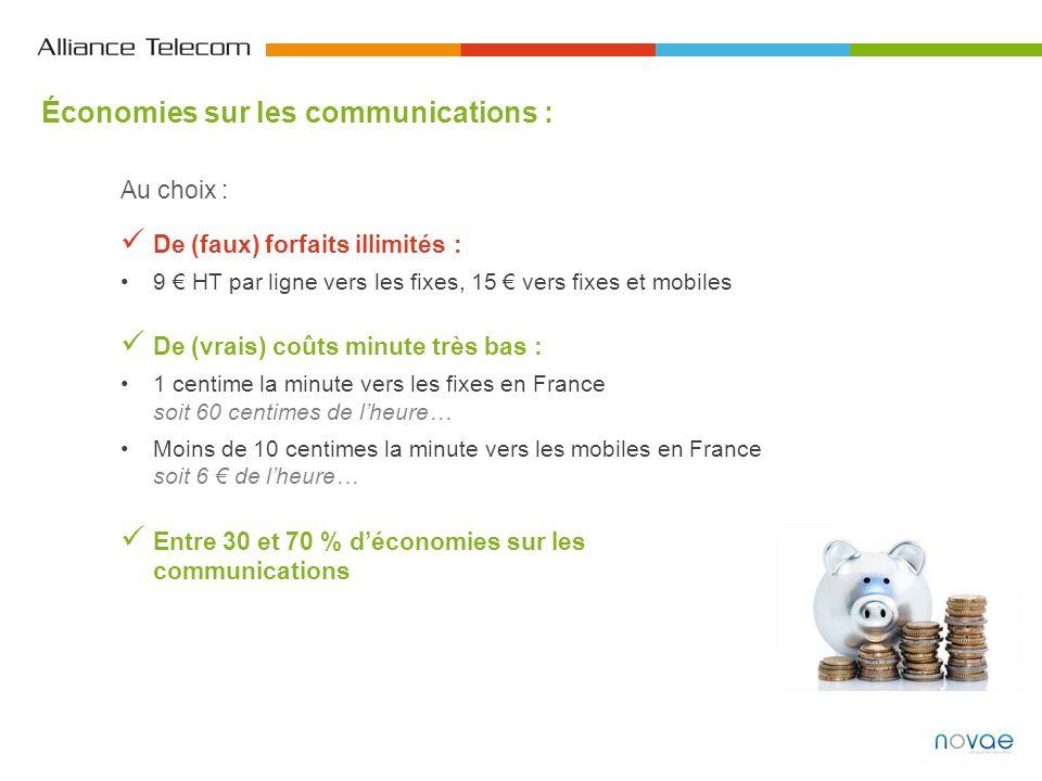 Économies sur les communications : Au choix : De (faux) forfaits illimités : 9 HT par ligne vers les fixes, 15 vers fixes et mobiles De (vrais) coûts