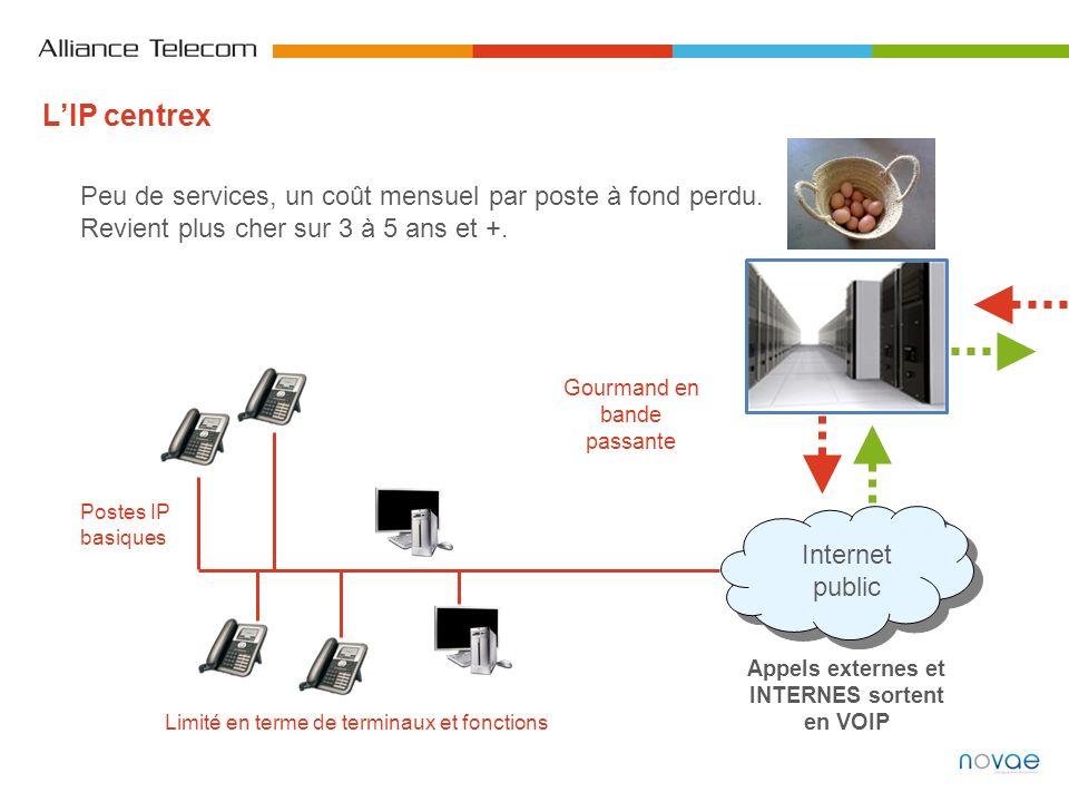Appels externes et INTERNES sortent en VOIP Internet public Postes IP basiques Peu de services, un coût mensuel par poste à fond perdu. Revient plus c