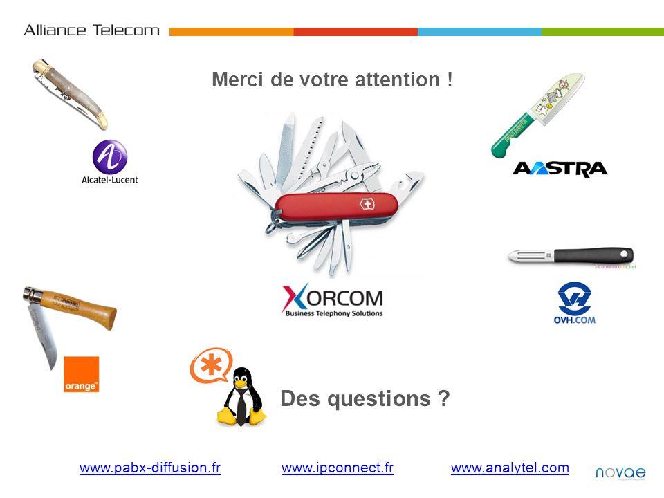 Merci de votre attention ! Des questions ? www.pabx-diffusion.frwww.pabx-diffusion.fr www.ipconnect.fr www.analytel.comwww.ipconnect.frwww.analytel.co