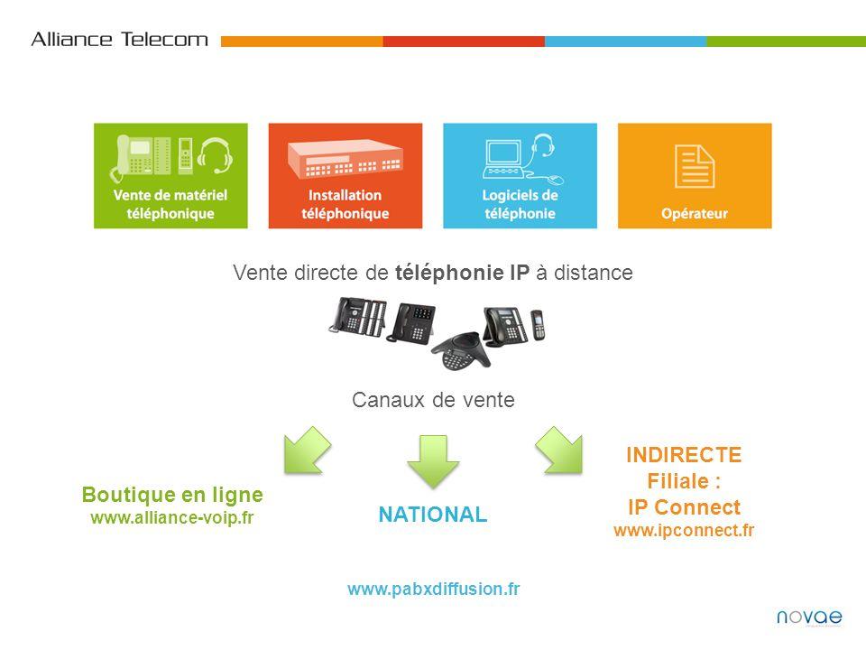 Vente directe de téléphonie IP à distance NATIONAL INDIRECTE Filiale : IP Connect www.ipconnect.fr Boutique en ligne www.alliance-voip.fr Canaux de ve